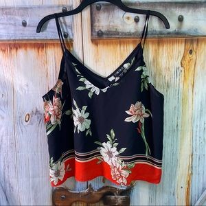 NWOT Timing Strappy Floral Blouse Red Black XL
